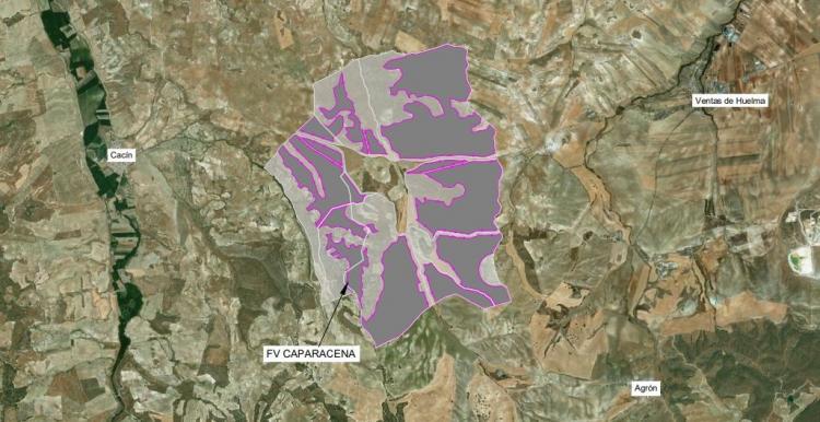 Megaplanta solar de Iberdrola que se construirá entre Cacín y Ventas de Huelma, con casi mil hectáreas, que, además, tendrá otros parques solares alrededor.