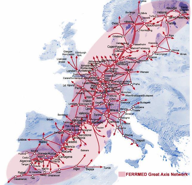 Mapa de líneas férreas de FERRMED, en la que está incluida la Guadix-Lorca.