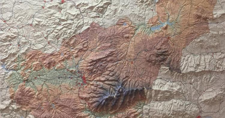 Detalle de un mapa de la provincia de Granada.