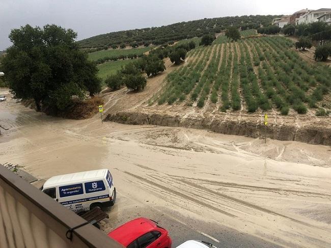Efectos de la tromba de agua en Montefrío, el pasado septiembre.