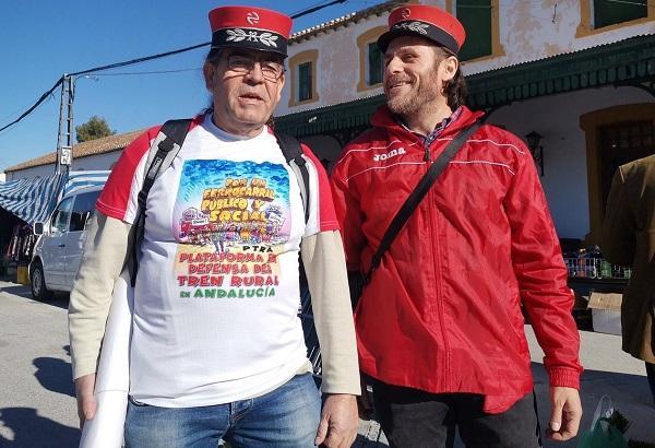 Detalle de la movilización el pasado 31 de diciembre en Baza, por la reapertura de la línea.