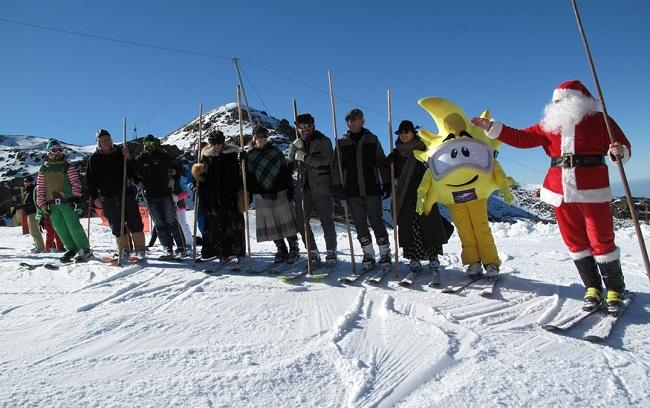 Papá Noel, en la estación de esquí.