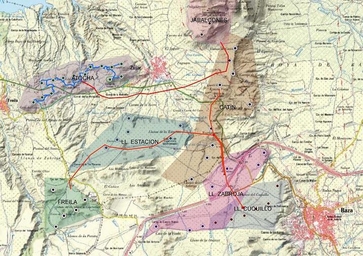 Mapa con la ubicación de varios proyectos de parques eólicos en la comarca de Baza.