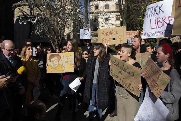 Un momento de la concentración de protesta.
