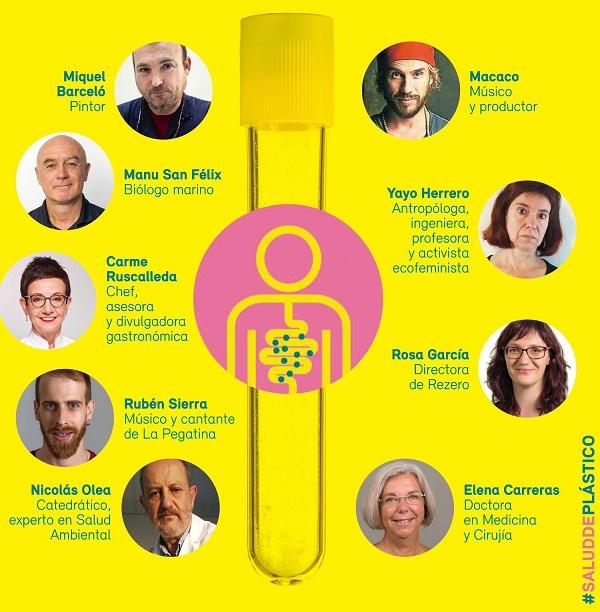 Algunas de las personalidades que apoyan la campaña 'Salud de plástico'.