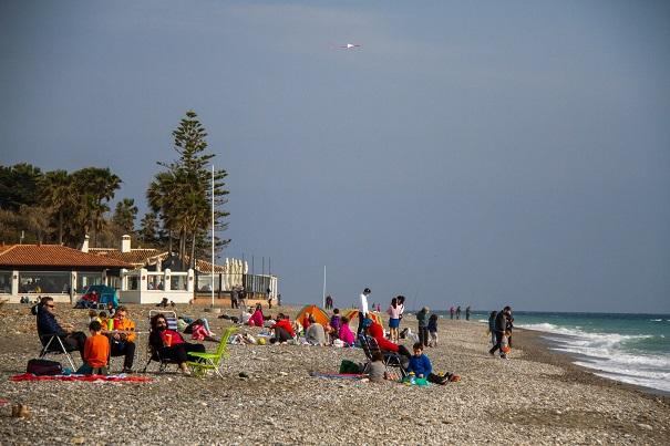 Playa motrileña, este sábado 20 de febrero.