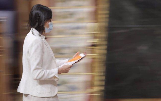 La líder de Cs, Inés Arrimadas, en una sesión de control al Gobierno en el Congreso de los Diputados.