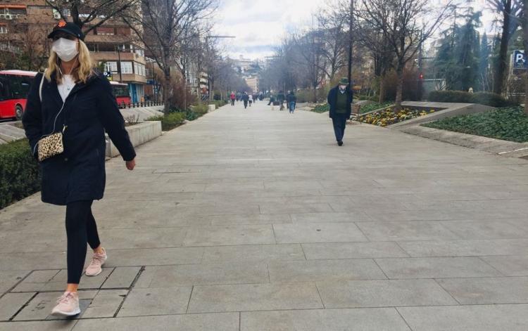 Viandantes en la Avenida de la Constitución.