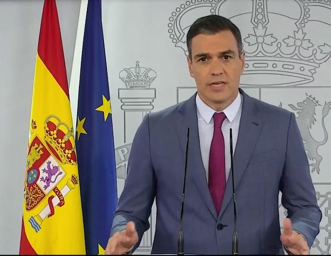Pedro Sánchez en su comparecencia para explicar los cambios en el Gobierno.