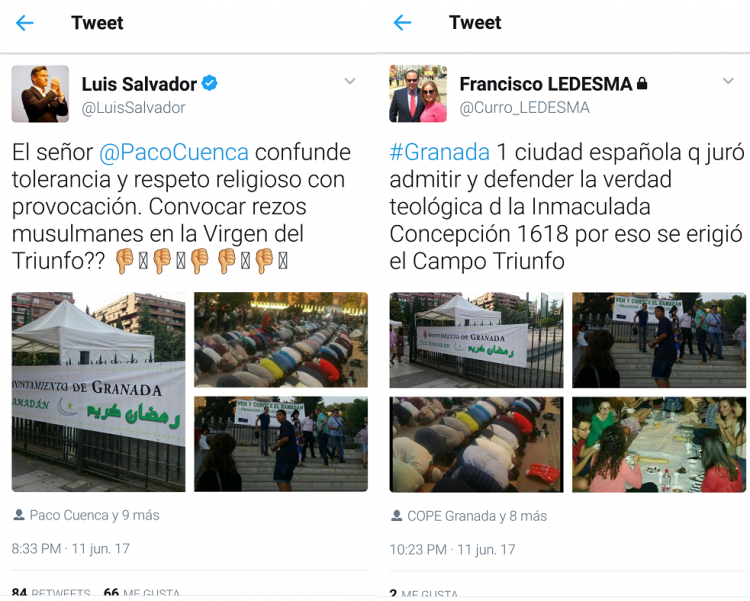 Captura de pantalla de los mensajes en twitter de Salvador y Ledesma.