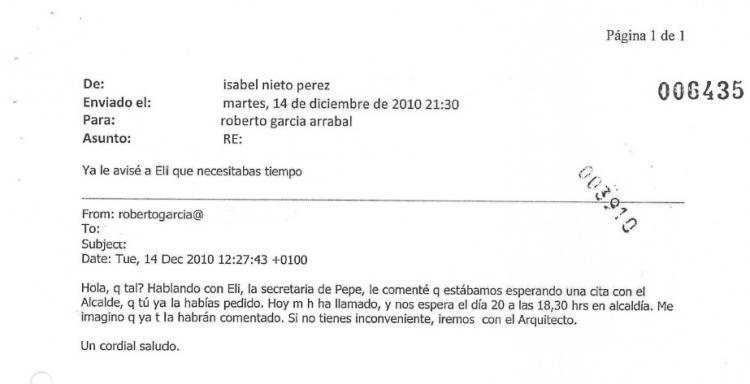 Uno de los correos que aparecen en el sumario del caso Nazarí.