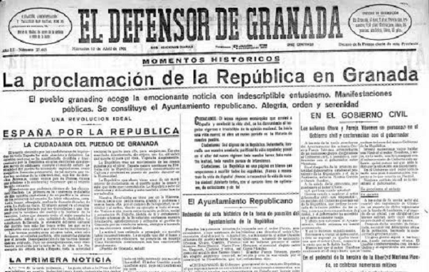 Detalle de la portada de El Defensor de Granada con la noticia de la proclamación de la República.