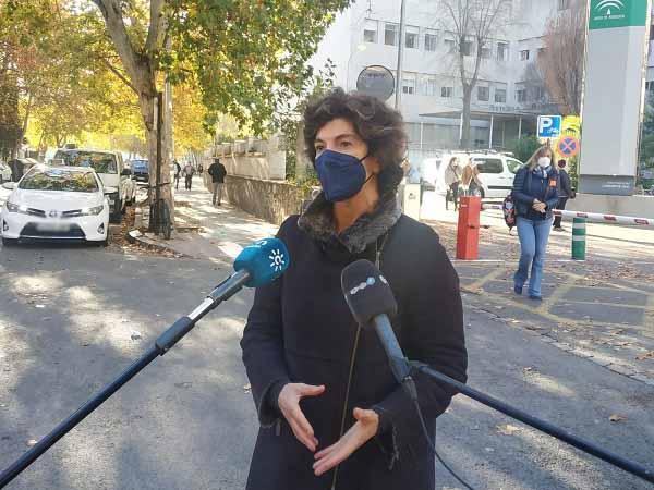 Elisa Cabrerizo, este miércoles, a las puertas del antiguo Clínico.