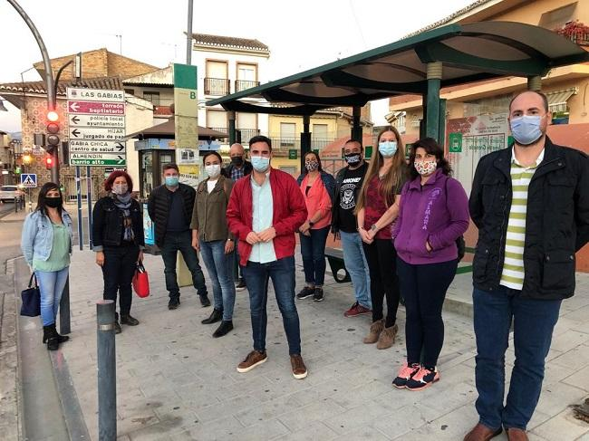 Los representantes socialistas, este jueves en Las Gabias.