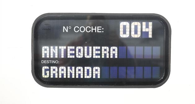 Panel informativo de un tren AVE.