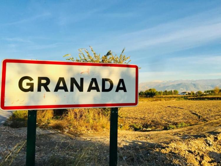 Cartel en uno de los accesos a Granada con la Vega y la Sierra al fondo.