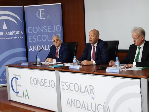Javier Imbroda, este lunes, en el pleno del Consejo Escolar de Andalucía.