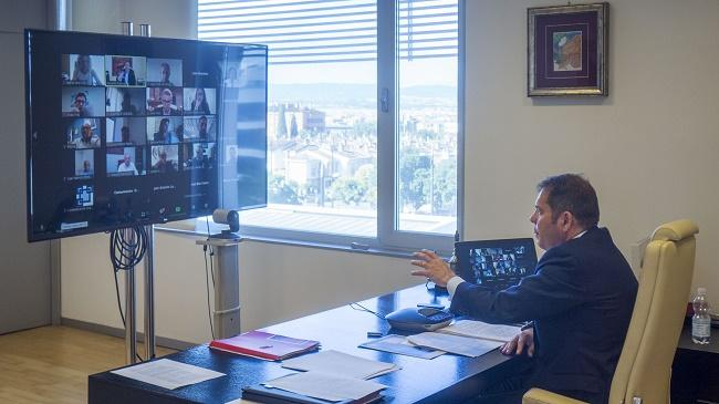 Gerardo Cuerva, durante la reunión telemática.