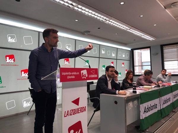 Antonio Maíllo durante su intervención en la asamblea política de IU.