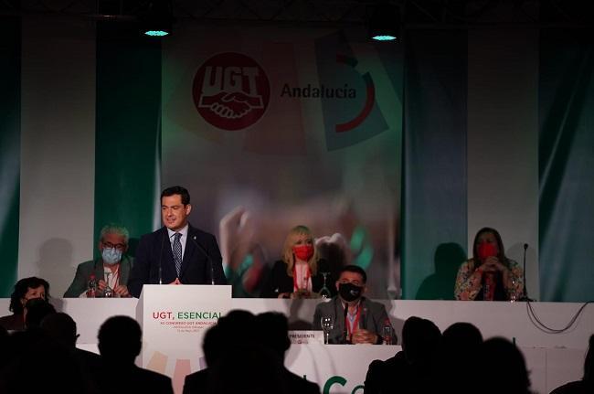 Juan Manuel Moreno, este miércoles en el congreso de UGT.