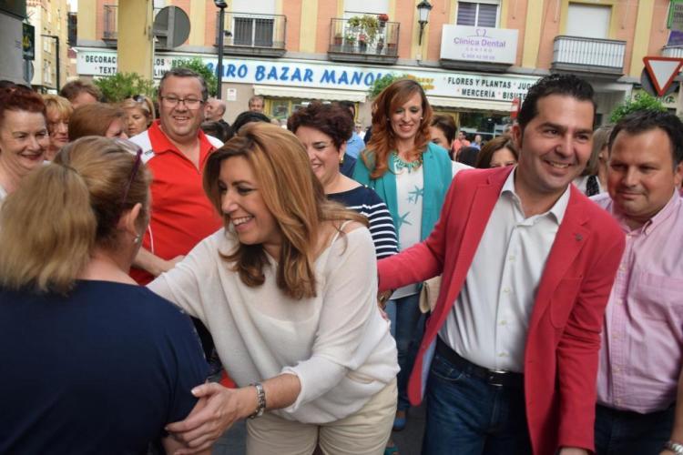 López y Díaz en Maracena, durante la campaña.
