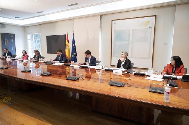 Pedro Sánchez y seis de sus ministros en una reunión durante la crisis de la COVID-19.