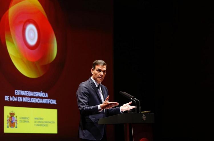 Pedro Sánchez durante su intervención en la presentación de la Estrategia Española de I+D+I en Inteligencia Artificial.
