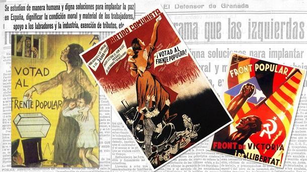 Composición con carteles electorales del Frente Popular y de fondo El Defensor de Granada.