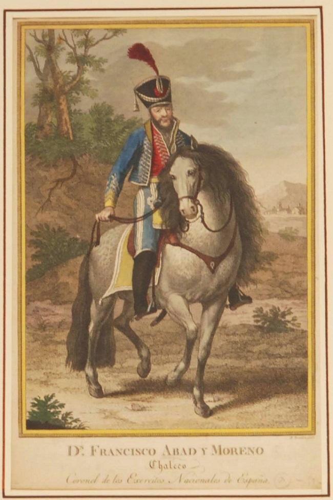 Litografía del Brigadier Francisco Abad, Chaleco, cuando era comandante militar de La Mancha (1820-23). Grabado de Mariano Brandi, hacia 1820-22.