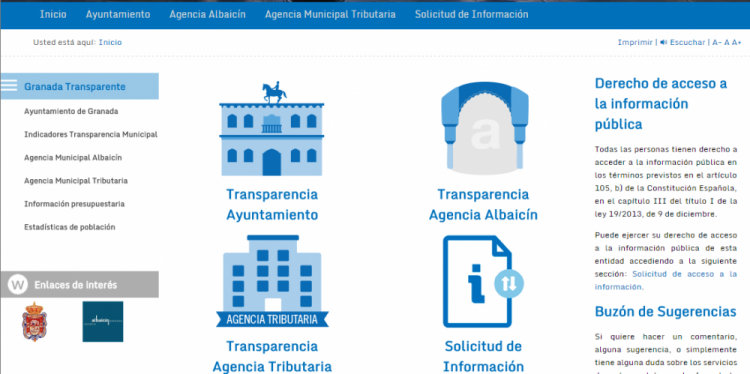 Captura de pantalla del portal de transparencia de Granada.