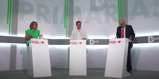 Susana Díaz, Juan Espadas y Luis Ángel Hierro.