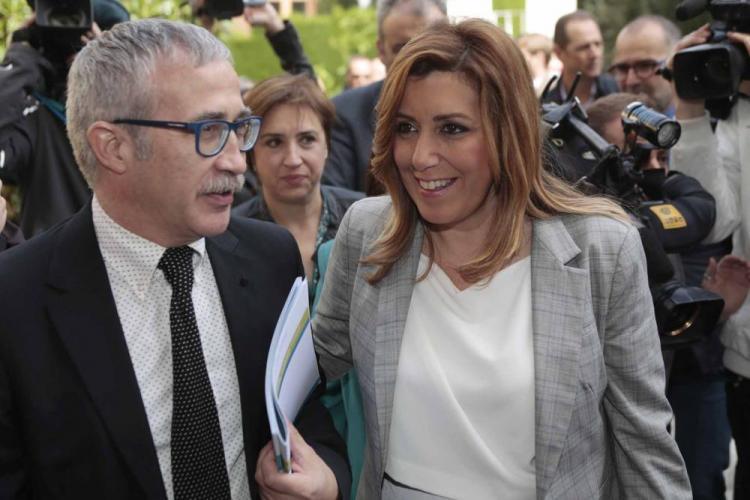 Joan Carles Marcha con Susana Díaz en una visita a la Escuela Andaluza de Salud Pública.
