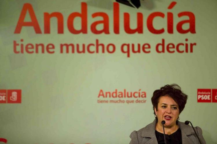 Teresa Jiménez en una rueda de prensa.