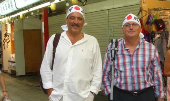Fotografía de Manuel Lorente y José Julián Romero durante su viaje a Japón incorporada al sumario.