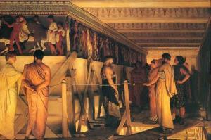 Fidias mostrando el Partenón a sus amigos. Sir Lawrence Alma-Tadena, 1868.