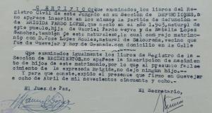 Detalle del certificado, de 1958, que confirma que su defunción no estaba inscrita en Registro Civil.