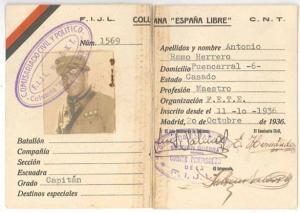 Carnet de Antonio Ramos Herrero en el que consta que el 11 de octubre entró en la milicia popular de la CNT, 'Columna España Libre' en calidad de capitán.