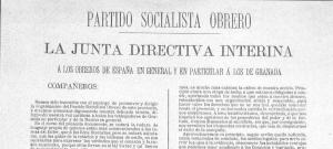 Primer documento conocido del PSOE de Granada, de11 de Febrero de 1892.