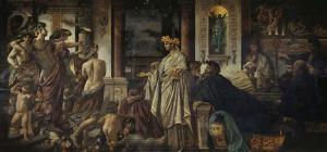 Pintura de Anselm Feuerbach que representa la llegada de Alcibíades (1871–1874).