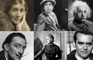 Virginia Wolf, Bob Dylan, Albert Einstein, Dalí, Marie Curie y Federico.