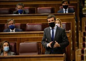 El presidente del PP, Pablo Casado, en la última Sesión de Control al Gobierno
