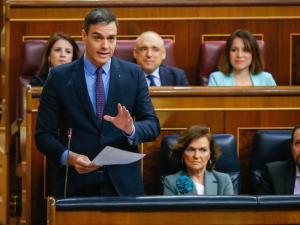 Pedro Sánchez, en la última sesión de control al Gobierno en el Congreso.