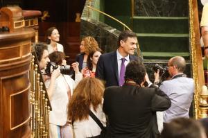 El presidente del Gobierno, Pedro Sánchez, a su llegada al hemiciclo del Congreso de los Diputados.