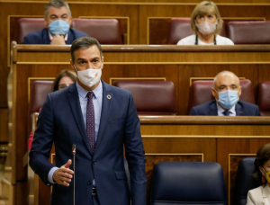 Pedro Sánchez responde una pregunta de Pablo Casado, durante la última Sesión de Control al Ejecutivo.