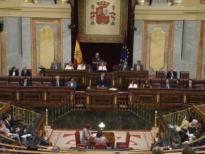 Pedro Sánchez, en una de sus intervenciones en la sesión de investidura.