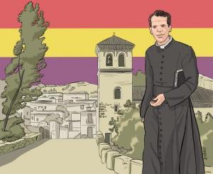 Fernando Padilla de Toro en Yátor (ilustración del maestro Joaquín López Cruces, dibujada expresamente para este homenaje, después de no haber podido localizar ninguna foto del protagonista).