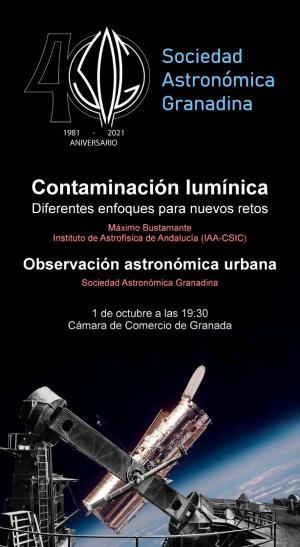 Cartel de una de las conferencias, con sesión de observación astronómica.