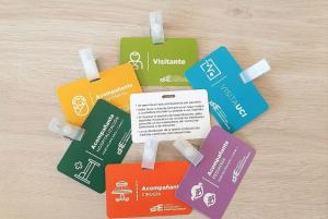 Diferentes tipos de tarjetas según la zona del hospital a visitar.