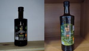Los aceites premiados 'Montevilla Chorreao' y 'Manzanillo'.