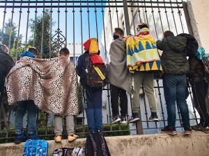 Imagen de una protesta, en noviembre, por la avería de la caldera en el Andrés Segovia.